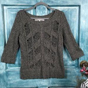RACHEL Rachel Roy Black Heather Distressed Sweater